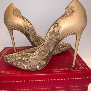 WOW ! Rene Caovilla gold satin embellished heels